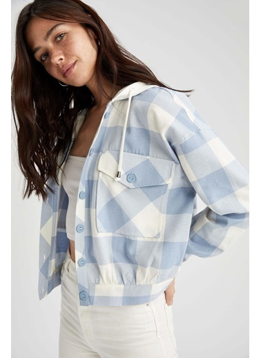 DeFacto Kapüşonlu Kareli Crop Gömlek Ceket Mavi
